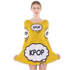 Comic Book Kpop Orange Long Sleeve Velvet Skater Dress