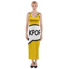 Comic Book Shout Kpop Orange Fitted Maxi Dress