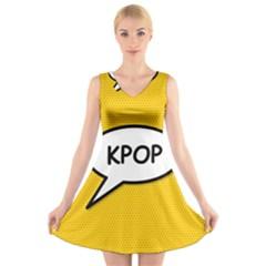 Comic Book Shout Kpop Orange V Neck Sleeveless Skater Dress