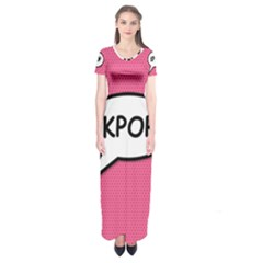 Comic Book Shout Kpop Pink Short Sleeve Maxi Dress