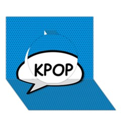 Comic Book Shout Kpop (Blue) Circle 3D Greeting Card (7x5)