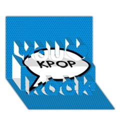 Comic Book Shout Kpop (Blue) You Rock 3D Greeting Card (7x5)