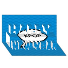 Comic Book Shout Kpop (Blue) Happy New Year 3D Greeting Card (8x4)