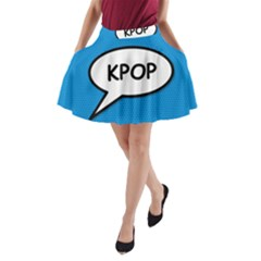 Comic Book Shout Kpop (Blue) A-Line Pocket Skirt