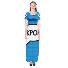 Comic Book Shout Kpop (blue) Short Sleeve Maxi Dress