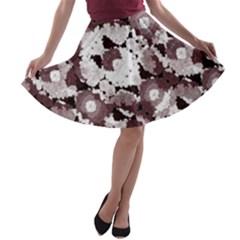 Ornate Modern Floral A-line Skater Skirt
