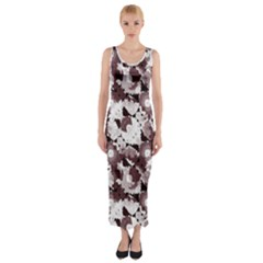 Ornate Modern Floral Fitted Maxi Dress