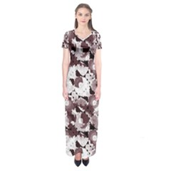Ornate Modern Floral Short Sleeve Maxi Dress