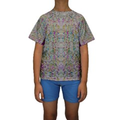 Colors For Peace And Lace In Rainbows In Decorative Style Kid s Short Sleeve Swimwear