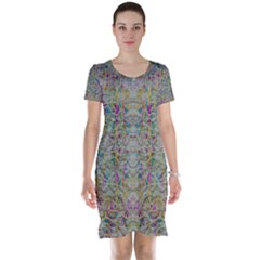 Colors For Peace And Lace In Rainbows In Decorative Style Short Sleeve Nightdress