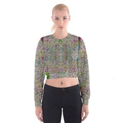Colors For Peace And Lace In Rainbows In Decorative Style Women s Cropped Sweatshirt