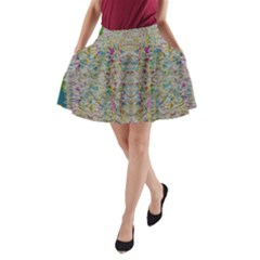 Colors For Peace And Lace In Rainbows In Decorative Style A Line Pocket Skirt