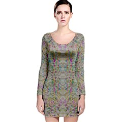 Colors For Peace And Lace In Rainbows In Decorative Style Long Sleeve Velvet Bodycon Dress