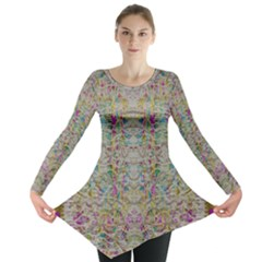 Colors For Peace And Lace In Rainbows In Decorative Style Long Sleeve Tunic
