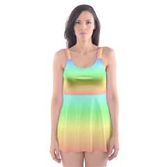 Rainbow Stripes Skater Dress Swimsuit