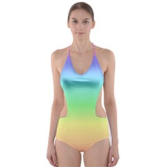 IRainbow Stripes Cut-Out One Piece Swimsuit
