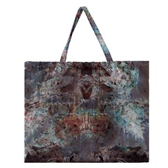 Metallic Copper Urban Grunge Patina Texture Zipper Large Tote Bag