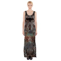 Metallic Copper Urban Grunge Patina Texture Maxi Thigh Split Dress