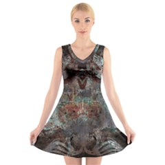 Metallic Copper Urban Grunge Patina Texture V-Neck Sleeveless Dress