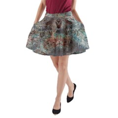 Metallic Copper Urban Grunge Patina Texture A-Line Pocket Skirt