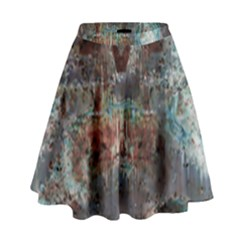 Metallic Copper Urban Grunge Patina Texture High Waist Skirt