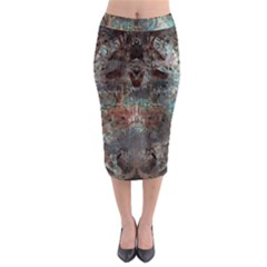 Metallic Copper Urban Grunge Patina Texture Midi Pencil Skirt