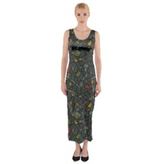 Abstract Reg Fitted Maxi Dress