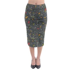 Abstract Reg Midi Pencil Skirt