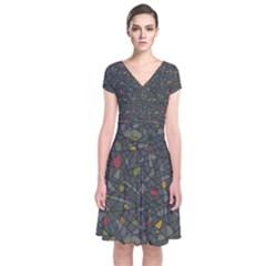 Abstract Reg Wrap Dress