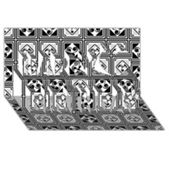 Black And White Happy Birthday 3d Greeting Card (8x4)