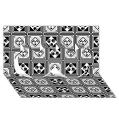 Black And White Twin Hearts 3D Greeting Card (8x4)