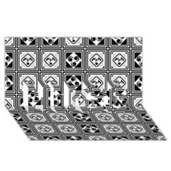 Black And White HUGS 3D Greeting Card (8x4)