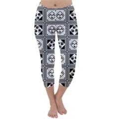Black And White Capri Winter Leggings
