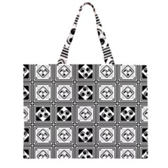 Black And White Zipper Large Tote Bag