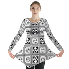 Black And White Long Sleeve Tunic