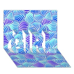 Blue And Purple Glowing GIRL 3D Greeting Card (7x5)