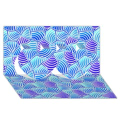 Blue And Purple Glowing Twin Hearts 3D Greeting Card (8x4)
