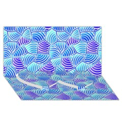 Blue And Purple Glowing Twin Heart Bottom 3D Greeting Card (8x4)
