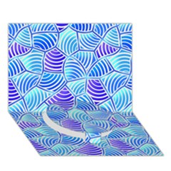 Blue And Purple Glowing Circle Bottom 3D Greeting Card (7x5)