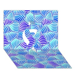Blue And Purple Glowing Ribbon 3D Greeting Card (7x5)