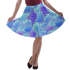 Blue And Purple Glowing A-line Skater Skirt