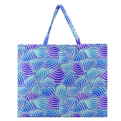 Blue And Purple Glowing Zipper Large Tote Bag