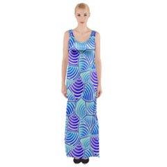 Blue And Purple Glowing Maxi Thigh Split Dress