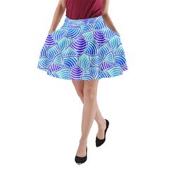 Blue And Purple Glowing A-Line Pocket Skirt