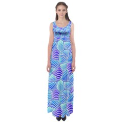 Blue And Purple Glowing Empire Waist Maxi Dress