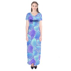 Blue And Purple Glowing Short Sleeve Maxi Dress