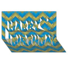 Blue And Yellow Happy Birthday 3D Greeting Card (8x4)
