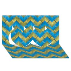 Blue And Yellow Twin Hearts 3d Greeting Card (8x4)