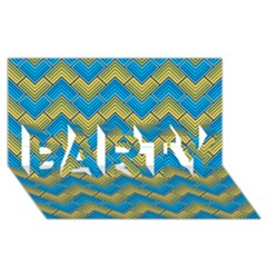 Blue And Yellow PARTY 3D Greeting Card (8x4)