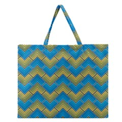Blue And Yellow Zipper Large Tote Bag